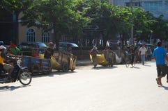 Route du trafic du Cambodge chez Poipet photographie stock libre de droits