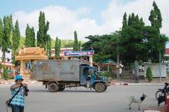 Route du trafic du Cambodge chez Poipet photographie stock