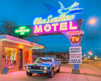Route 66: Dusk at the Blue Swallow Motel, Tucumcari, NM Stock Images