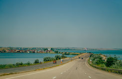 Route E-95. The entrance to the city of Odessa Royalty Free Stock Images