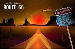 Route 66 en de Grand Canyon -illustratie van het woestijnlandschap stock illustratie