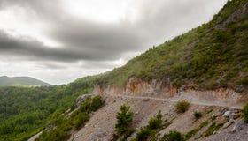 Route en montagnes boisées Photographie stock