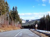 Route en montagnes carpathiennes, Ukraine image libre de droits