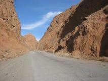 Route en montagnes de Tyan-shan Photographie stock libre de droits