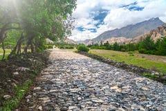 Route en pierre en vallée de montagnes Photographie stock