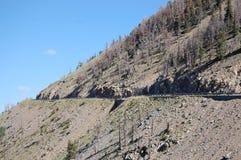 Route en vrac dans le secteur de montagne de l'état du Wyoming Photographie stock