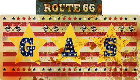 Route 66 enamel gas station sign, Stock Photo