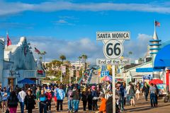 Route 66 End of Trail in Santa Monica California USA. Route 66 End of Trail Sign in Santa Monica, California, USA. Route 66 opened in 1926 and connected Chicago Stock Photography