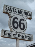 Route 66 end of the trail signal in Santa Monica. Route 66 end of the trail signal Stock Images