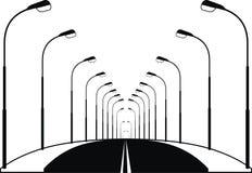 Route et lanternes de rue de nuit Photographie stock libre de droits
