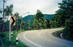 Route et panneau d'avertissement incurvés par serpent Photographie stock libre de droits