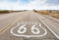 Route 66. Famous Route 66 landmark on the road in Californian desert Royalty Free Stock Photography