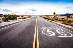 Route 66. Famous Route 66 landmark on the road in Californian desert Stock Photos