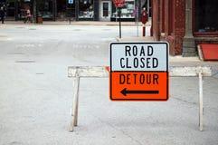 Route fermée, détour Images libres de droits