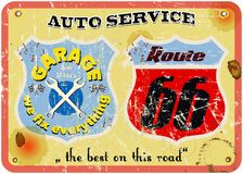Route 66 garage sign Royalty Free Stock Photo