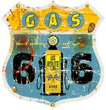 Route 66 gas station sign. Retro route 66 gas station sign,vector illustration Royalty Free Stock Images