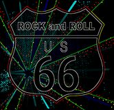 Rock and Roll Glow Route 66. Route 66 glowing neon traffic sign over a splash background and the legend Rock and Roll royalty free illustration