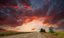 Route goudronnée de pays partant dans le ciel dramatique de coucher du soleil Photo libre de droits