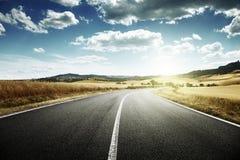 Route goudronnée en Toscane, Italie Images libres de droits