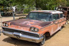 Route 66, Hackberry, old-timer car. Hackberry, AZ - MAY 28: Mercury Commuter old-timer station wagon at General Store at Hackberry, Route 66, on May 28 in Royalty Free Stock Photos