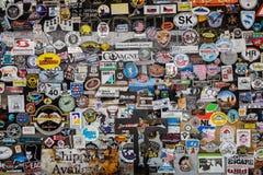Route 66, Hackberry, vieille épicerie générale, autocollants Photographie stock