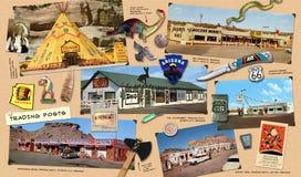 Route 66 handelstolpar royaltyfri foto