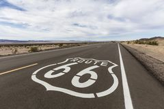 Route 66 Highway Sign in the California Mojave Desert. Route 66 highway sign near Amboy in the California Mojave desert Royalty Free Stock Photography