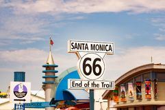 Route 66 highway sign at the end of Route 66 in Santa Monica, California United States. stock photography