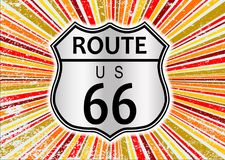 Route 66 Retro Grunge Splash Background. Route 66 highway sign set on an abstract and retro grunge backround design element in reds and oranges Royalty Free Stock Image