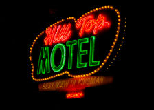 Route 66: Hill Top Motel Neon Sign, Kingman, AZ Royalty Free Stock Image