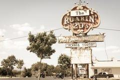 Route 66 histórico, concessões, vintage do nanômetro que ruje 20s a loja de bebidas s fotos de stock