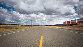Route 66: I-40 and train tracks, Thoreau NM Royalty Free Stock Photos