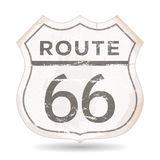 Route 66 Icon With Grunge And Rust Textures. Illustration of a grunge rusty route 66 road panel, with rust and scratched effect Royalty Free Stock Photos