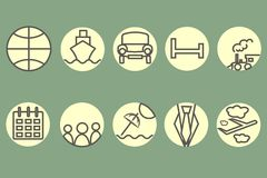 The route icons, hotel icons. Black, gray contour train, ship, car, aircraft, trains, umbrellas Royalty Free Stock Image