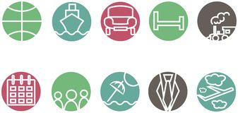 The route icons, hotel icons. White contour train, ship, car, aircraft, trains, umbrellas in pastel red, green, blue, gray backgro Royalty Free Stock Photo