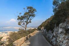Route inclin?e au bord de la falaise de roche, saison d'?t? du Gibraltar photographie stock libre de droits