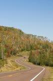 Route incurvée, couleurs d'automne Photographie stock