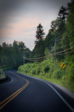 Route incurvée dans la forêt avec la vignette foncée Photos stock