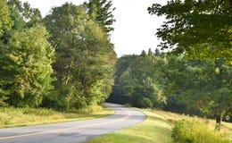 Route incurvée de montagne avec des arbres et des fleurs image stock