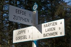 Route indication of the ANWB in Dutch Open Air Museum Royalty Free Stock Images