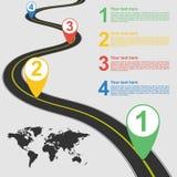 Route infographic avec l'illustration colorée d'indicateur de goupille Photographie stock