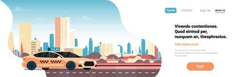 Route jaune de cabine de service de voiture de taxi au-dessus de l'espace plat de copie de paysage urbain de bannière horizontale illustration libre de droits
