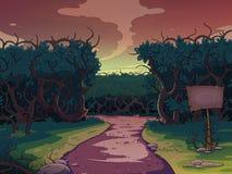 Route large entre les buissons au coucher du soleil Photos libres de droits
