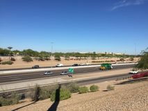 Route 202 Loop in Chandler Arizona going West. Loop 202 in Phoenix Arizona loops around the city of Phoenix and the other Towns Stock Image
