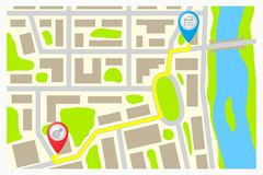 Route on the map of the city. Royalty Free Stock Photos