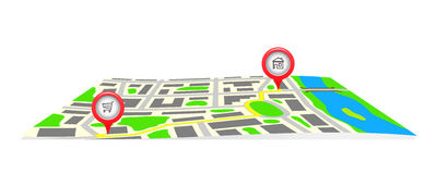 The route on the map of the city. Royalty Free Stock Photos