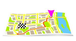 The route on the map of the city. Stock Images