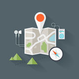 Route map flat illustration Royalty Free Stock Photo
