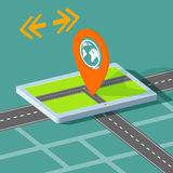 Route map on the tablet. City navigation app. Vector Image Stock Royalty Free Stock Image