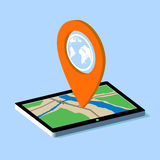 Route map on the tablet. City navigation app. Vector Image Stock Stock Photos